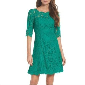 Eliza J Dress Emerald Lace Fit & Flare 3/4 Sleeve
